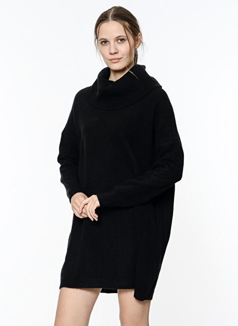Koton Geniş Balıkçı Yaka Triko Elbise Siyah
